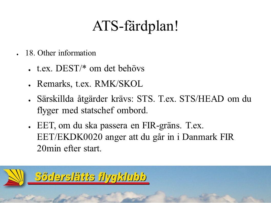 ATS-färdplan.● 19. Supplementary information ● Endurance – hur länge bensinen räcker.