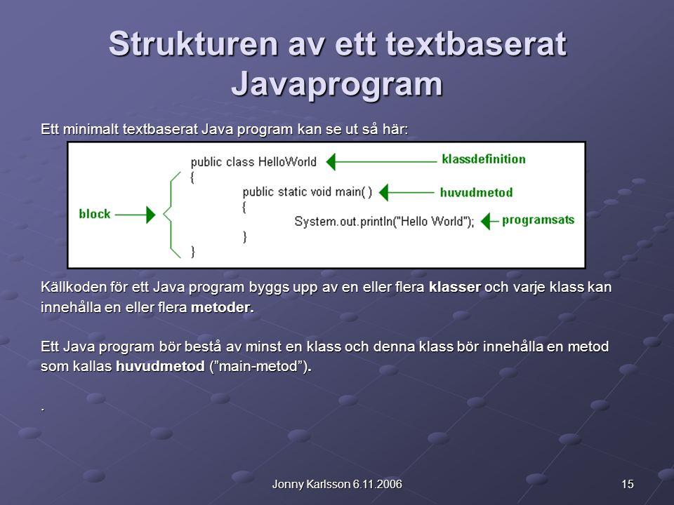 15Jonny Karlsson 6.11.2006 Strukturen av ett textbaserat Javaprogram Ett minimalt textbaserat Java program kan se ut så här: Källkoden för ett Java program byggs upp av en eller flera klasser och varje klass kan innehålla en eller flera metoder.