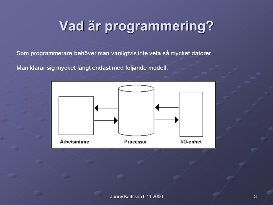 14Jonny Karlsson 6.11.2006 Introduktion till Java Fördelen med interpretator modellen är att det kompilerade Javaprogrammet är helt plattformsoberoende och kan köras på vilken dator som helst med viken hårdvara och vilket operativsystem som helst förutsatt att det på datorn finns en interpretator/Virtuell Maskin.