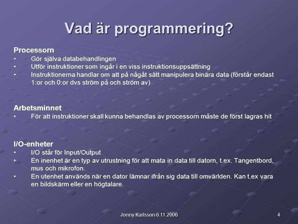 5Jonny Karlsson 6.11.2006 Programmera.Ett sätt att indirekt kommunicera med datorns processor.