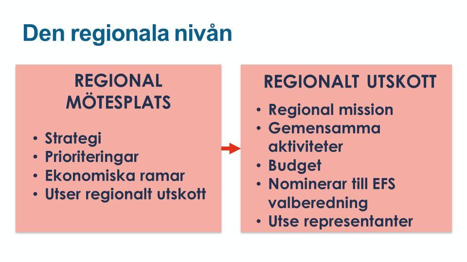 Den regionala nivån REGIONAL MÖTESPLATS Strategi Prioriteringar Ekonomiska ramar Utser regionalt utskott REGIONAL MÖTESPLATS Strategi Prioriteringar Ekonomiska ramar Utser regionalt utskott REGIONALT UTSKOTT Regional mission Gemensamma aktiviteter Budget Nominerar till EFS valberedning Utse representanter REGIONALT UTSKOTT Regional mission Gemensamma aktiviteter Budget Nominerar till EFS valberedning Utse representanter