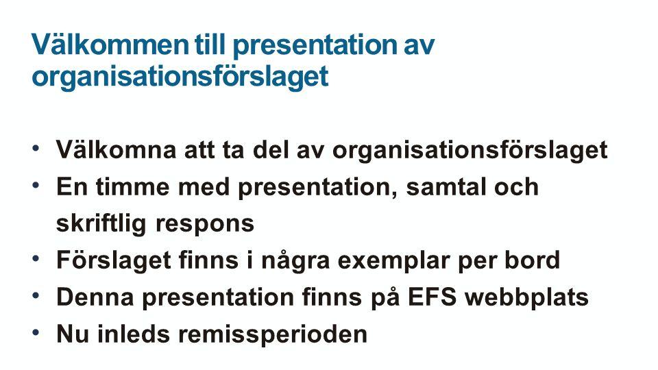 Välkommen till presentation av organisationsförslaget Välkomna att ta del av organisationsförslaget En timme med presentation, samtal och skriftlig respons Förslaget finns i några exemplar per bord Denna presentation finns på EFS webbplats Nu inleds remissperioden