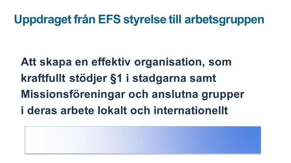 Uppdraget från EFS styrelse till arbetsgruppen Att skapa en effektiv organisation, som kraftfullt stödjer §1 i stadgarna samt Missionsföreningar och anslutna grupper i deras arbete lokalt och internationellt