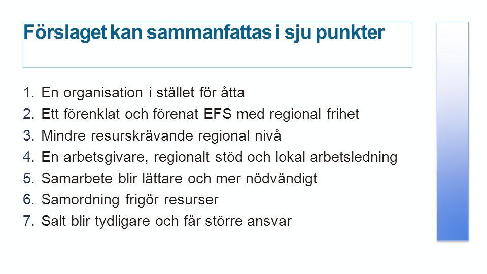 Förslaget kan sammanfattas i sju punkter 1.En organisation i stället för åtta 2.Ett förenklat och förenat EFS med regional frihet 3.Mindre resurskrävande regional nivå 4.En arbetsgivare, regionalt stöd och lokal arbetsledning 5.Samarbete blir lättare och mer nödvändigt 6.Samordning frigör resurser 7.Salt blir tydligare och får större ansvar