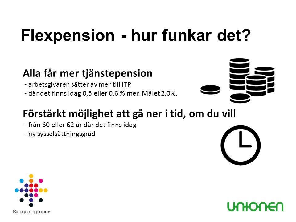 Flexpension - hur funkar det? Alla får mer tjänstepension - arbetsgivaren sätter av mer till ITP - där det finns idag 0,5 eller 0,6 % mer. Målet 2,0%.