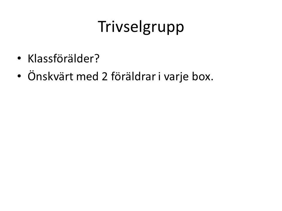 Trivselgrupp Klassförälder Önskvärt med 2 föräldrar i varje box.
