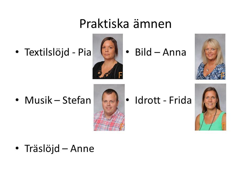 Praktiska ämnen Textilslöjd - Pia Musik – Stefan Träslöjd – Anne Bild – Anna Idrott - Frida