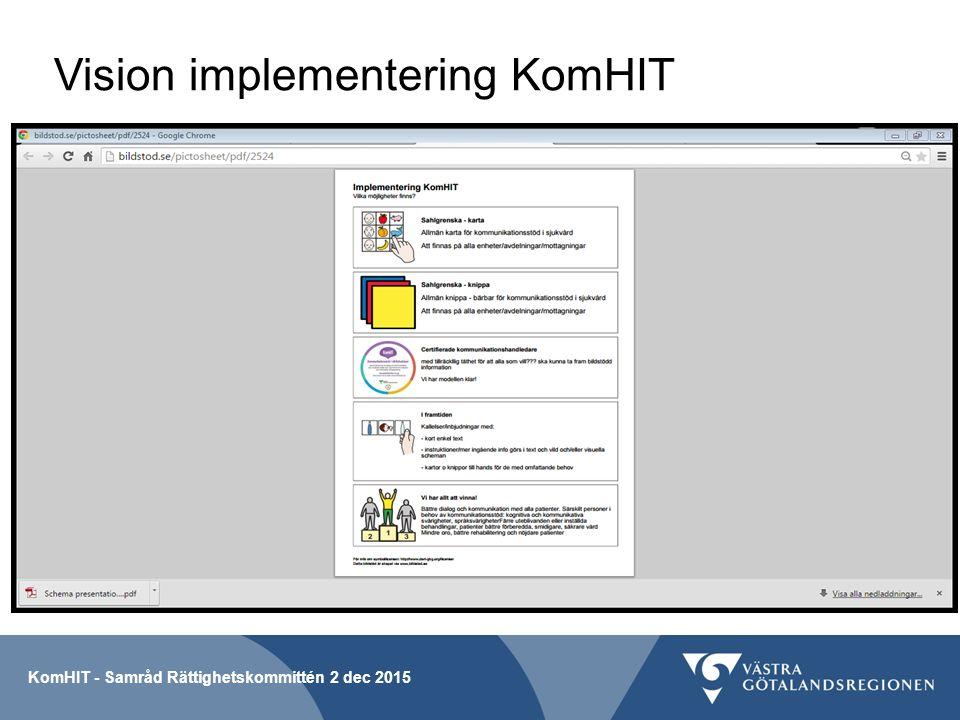 Vision implementering KomHIT KomHIT - Samråd Rättighetskommittén 2 dec 2015