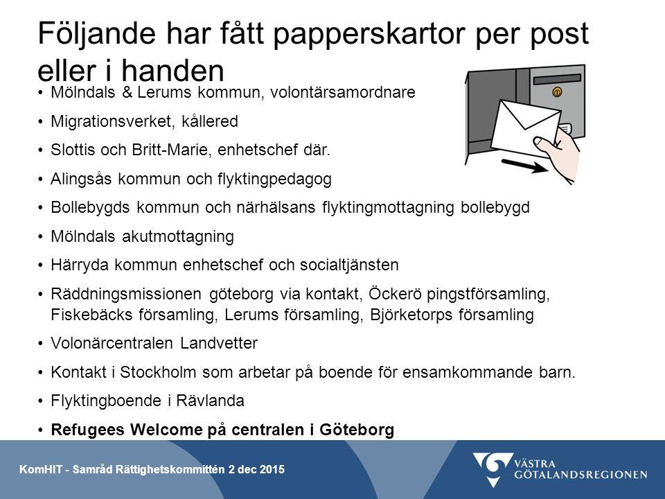 Följande har fått papperskartor per post eller i handen Mölndals & Lerums kommun, volontärsamordnare Migrationsverket, kållered Slottis och Britt-Marie, enhetschef där.