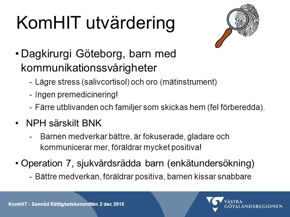 KomHIT utvärdering Dagkirurgi Göteborg, barn med kommunikationssvårigheter -Lägre stress (salivcortisol) och oro (mätinstrument) -Ingen premedicinering.