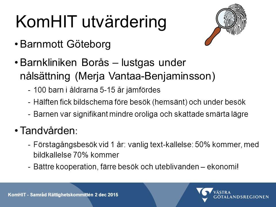 KomHIT utvärdering Barnmott Göteborg Barnkliniken Borås – lustgas under nålsättning (Merja Vantaa-Benjaminsson) -100 barn i åldrarna 5-15 år jämfördes -Hälften fick bildschema före besök (hemsänt) och under besök -Barnen var signifikant mindre oroliga och skattade smärta lägre Tandvården : -Förstagångsbesök vid 1 år: vanlig text-kallelse: 50% kommer, med bildkallelse 70% kommer -Bättre kooperation, färre besök och uteblivanden – ekonomi.