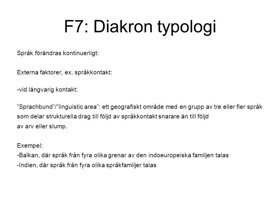 F7: Diakron typologi Språk förändras kontinuerligt: Externa faktorer, ex.