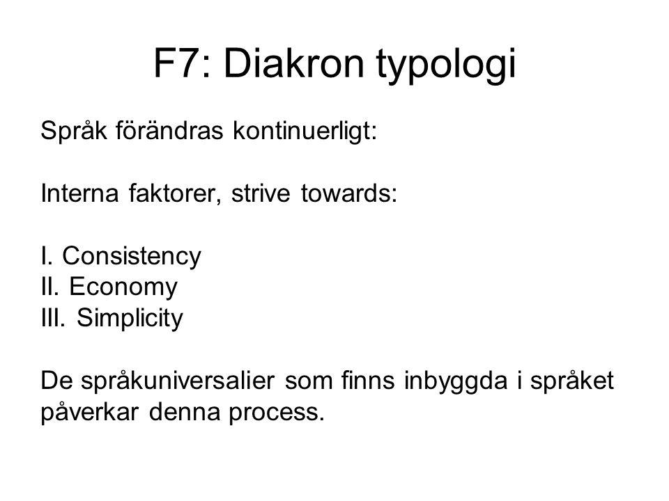 F7: Diakron typologi Språk förändras kontinuerligt: Interna faktorer, strive towards: I.
