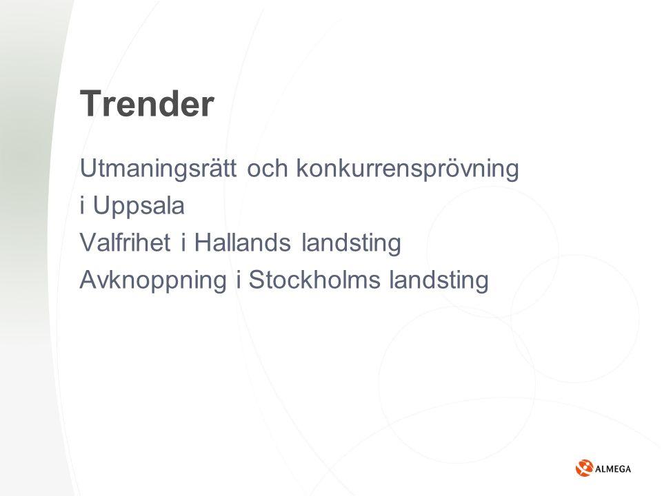 Trender Utmaningsrätt och konkurrensprövning i Uppsala Valfrihet i Hallands landsting Avknoppning i Stockholms landsting