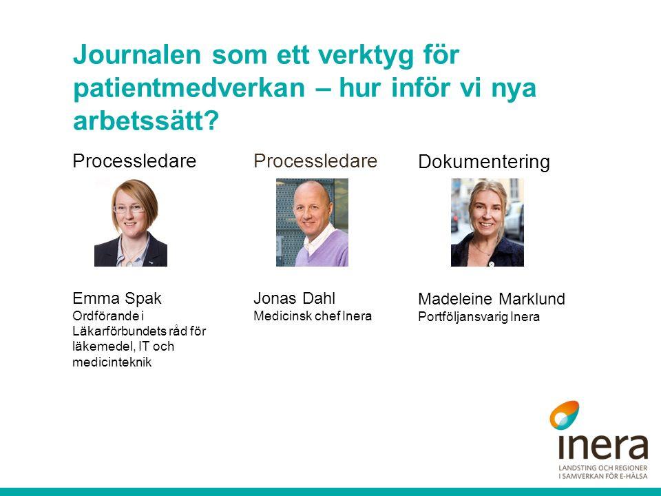Journalen som ett verktyg för patientmedverkan – hur inför vi nya arbetssätt? Dokumentering Madeleine Marklund Portföljansvarig Inera Processledare Em