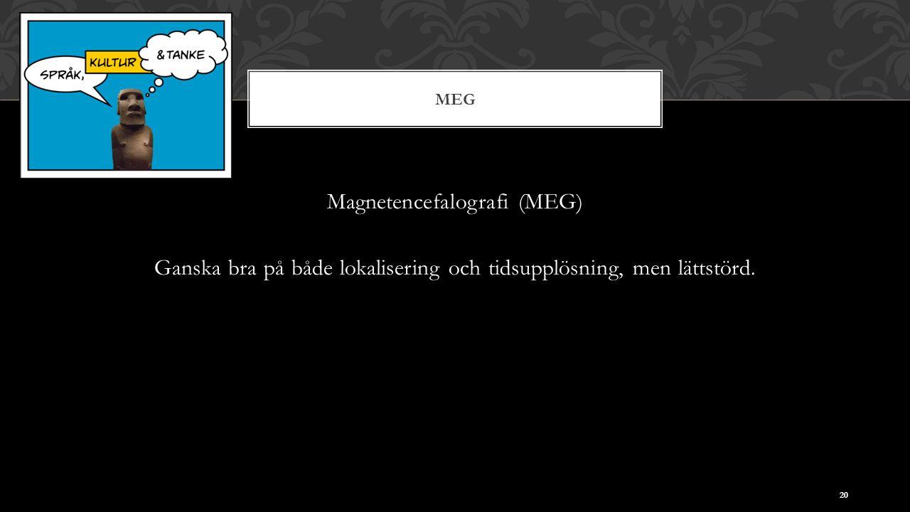 MEG Magnetencefalografi (MEG) Ganska bra på både lokalisering och tidsupplösning, men lättstörd. 20