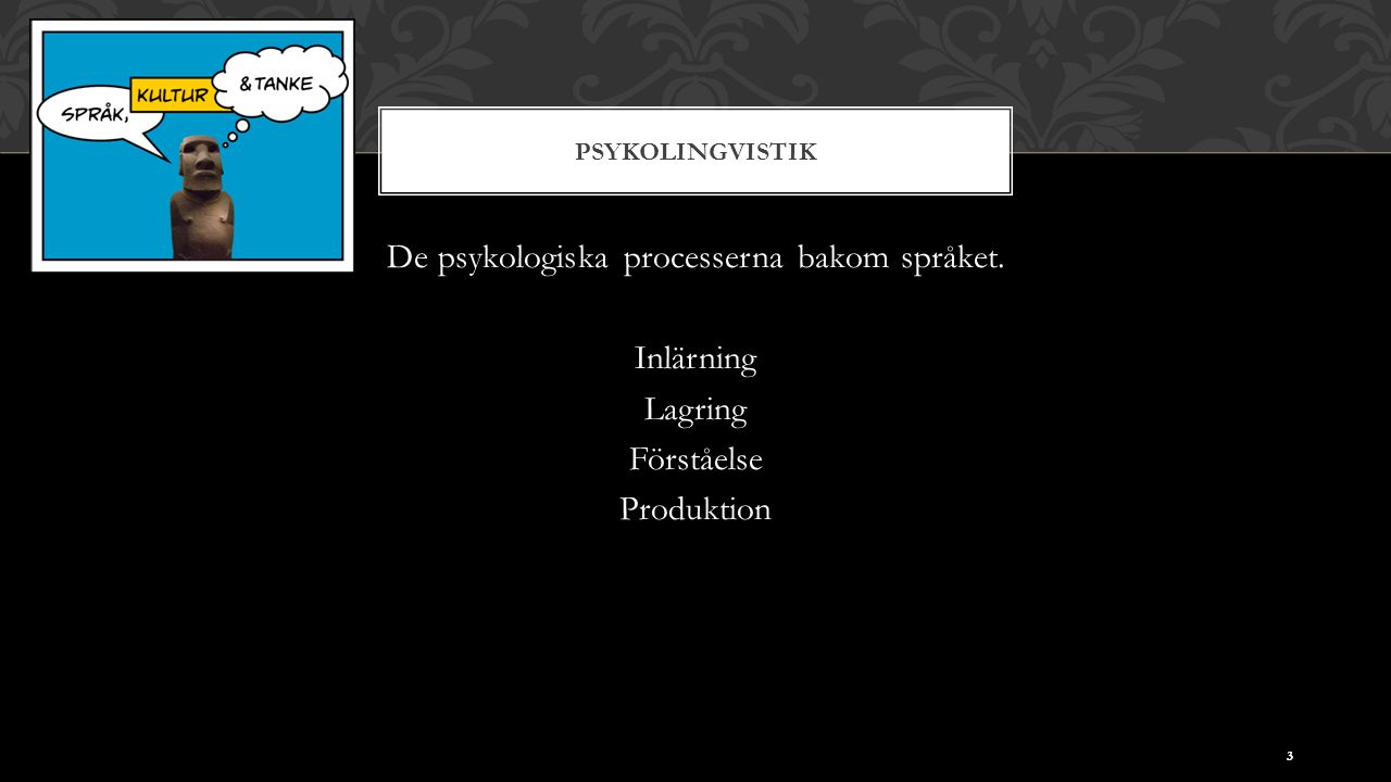 PSYKOLINGVISTIK De psykologiska processerna bakom språket. Inlärning Lagring Förståelse Produktion 3