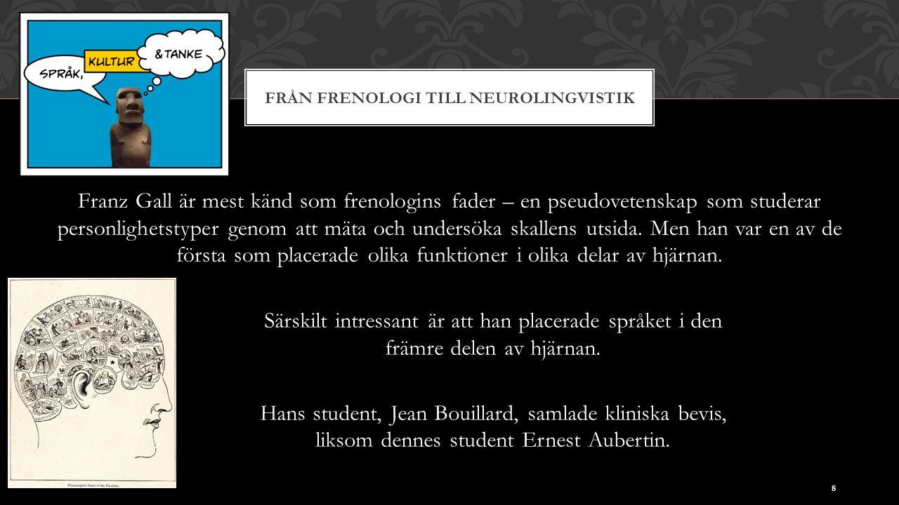 FRÅN FRENOLOGI TILL NEUROLINGVISTIK Franz Gall är mest känd som frenologins fader – en pseudovetenskap som studerar personlighetstyper genom att mäta och undersöka skallens utsida.