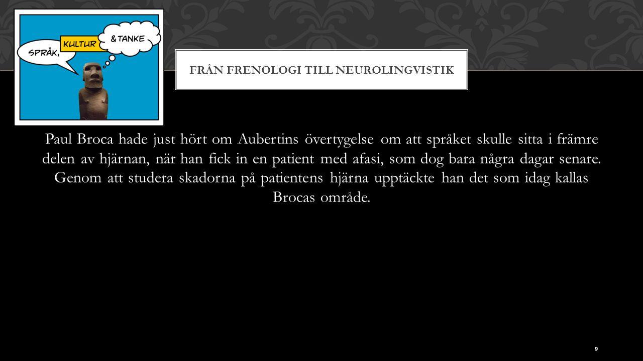 FRÅN FRENOLOGI TILL NEUROLINGVISTIK Paul Broca hade just hört om Aubertins övertygelse om att språket skulle sitta i främre delen av hjärnan, när han fick in en patient med afasi, som dog bara några dagar senare.