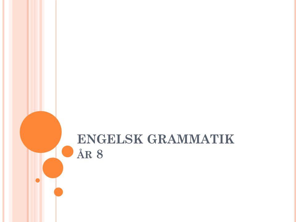 I NNEHÅLLSFÖRTECKNING – TABLE OF CONTENTS Substantiv (nouns) a/an Plural Genitiv (genitive) Adjektiv (adjective) Komparation (comparison) Adverb (adverb)