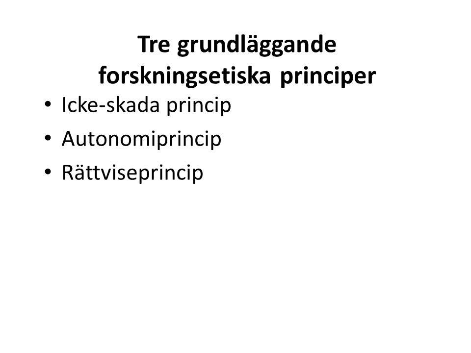 Tre grundläggande forskningsetiska principer Icke-skada princip Autonomiprincip Rättviseprincip