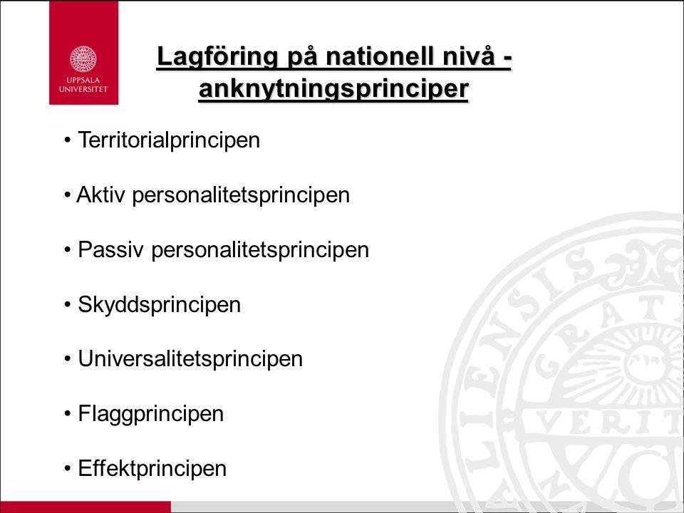 Territorialprincipen Aktiv personalitetsprincipen Passiv personalitetsprincipen Skyddsprincipen Universalitetsprincipen Flaggprincipen Effektprincipen Lagföring på nationell nivå - anknytningsprinciper