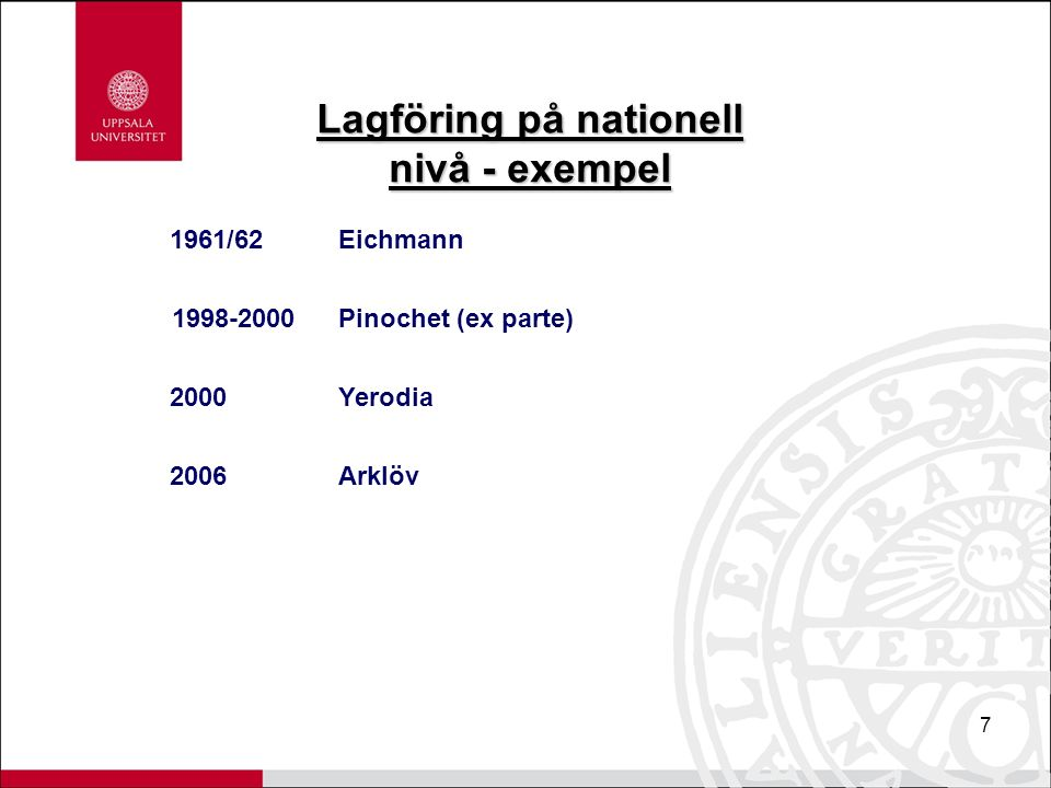 7 Lagföring på nationell nivå - exempel 1961/62Eichmann 1998-2000Pinochet (ex parte) 2000Yerodia 2006Arklöv