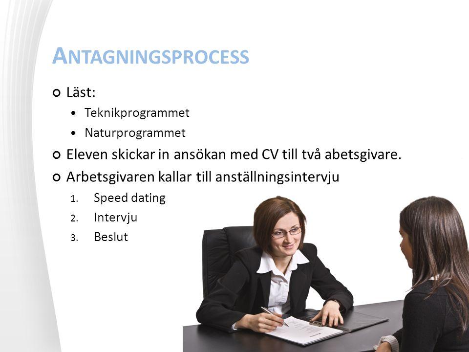 A NTAGNINGSPROCESS Läst: Teknikprogrammet Naturprogrammet Eleven skickar in ansökan med CV till två abetsgivare.