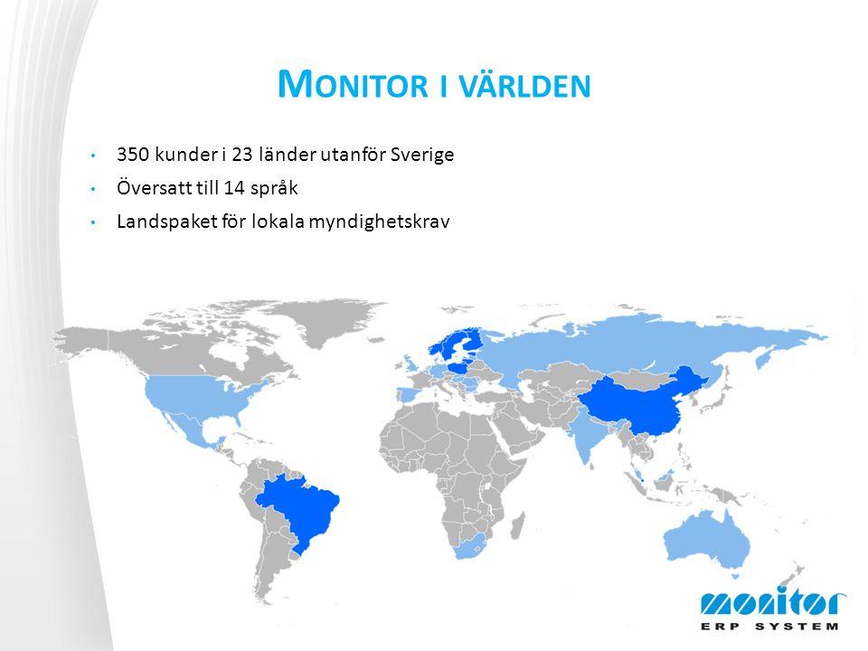M ONITOR I VÄRLDEN 350 kunder i 23 länder utanför Sverige Översatt till 14 språk Landspaket för lokala myndighetskrav