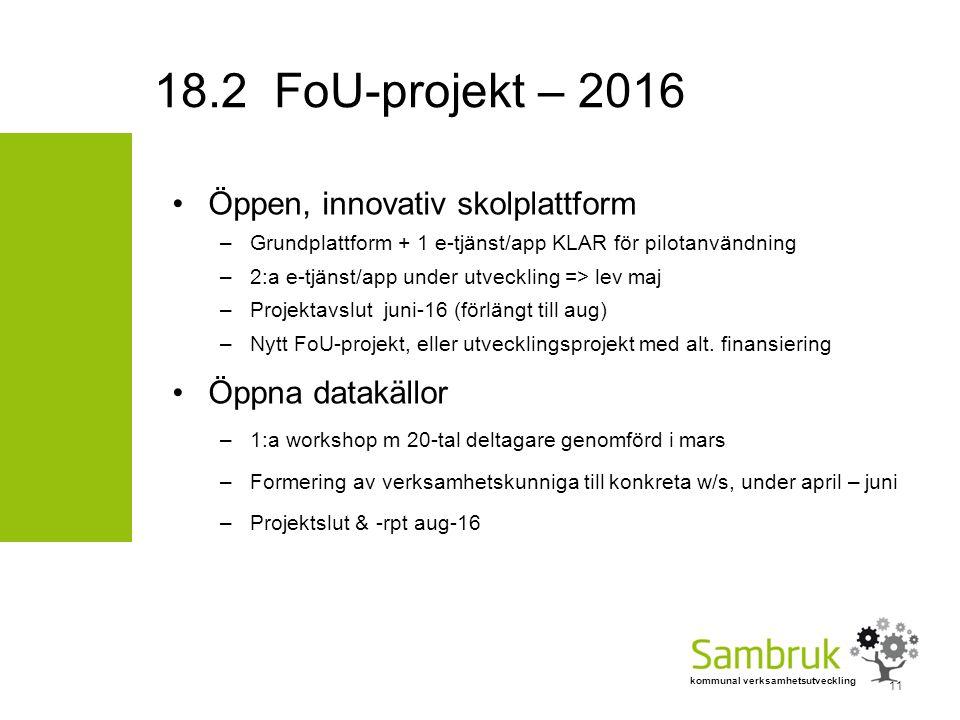 kommunal verksamhetsutveckling Öppen, innovativ skolplattform –Grundplattform + 1 e-tjänst/app KLAR för pilotanvändning –2:a e-tjänst/app under utveckling => lev maj –Projektavslut juni-16 (förlängt till aug) –Nytt FoU-projekt, eller utvecklingsprojekt med alt.