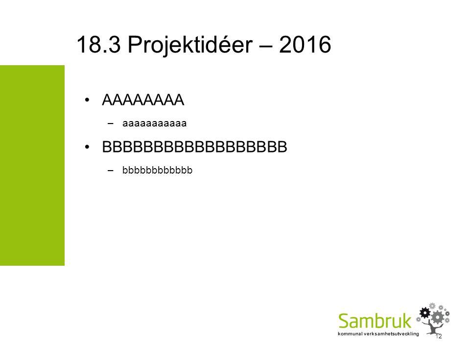 kommunal verksamhetsutveckling AAAAAAAA –aaaaaaaaaaa BBBBBBBBBBBBBBBBBB –bbbbbbbbbbbb 12 18.3 Projektidéer – 2016