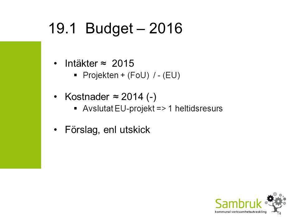 kommunal verksamhetsutveckling Intäkter ≈ 2015  Projekten + (FoU) / - (EU) Kostnader ≈ 2014 (-)  Avslutat EU-projekt => 1 heltidsresurs Förslag, enl