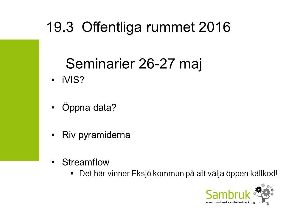 kommunal verksamhetsutveckling Seminarier 26-27 maj iVIS? Öppna data? Riv pyramiderna Streamflow  Det här vinner Eksjö kommun på att välja öppen käll