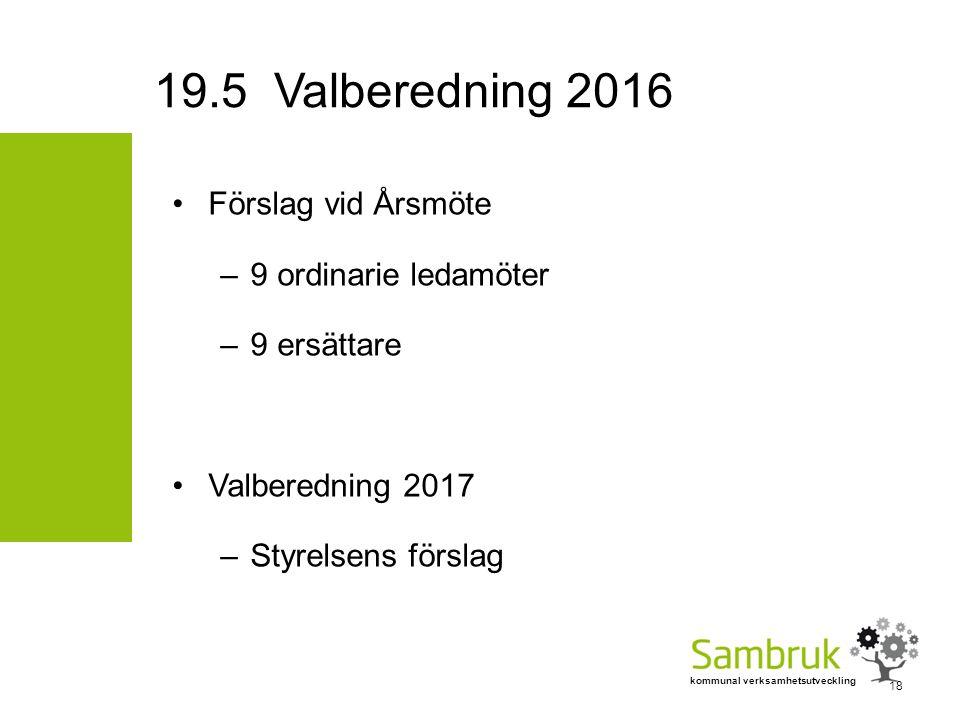 kommunal verksamhetsutveckling Förslag vid Årsmöte –9 ordinarie ledamöter –9 ersättare Valberedning 2017 –Styrelsens förslag 18 19.5 Valberedning 2016