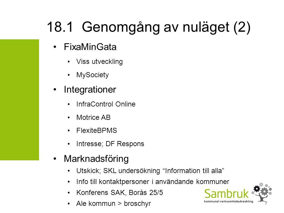 kommunal verksamhetsutveckling FixaMinGata Viss utveckling MySociety Integrationer InfraControl Online Motrice AB FlexiteBPMS Intresse; DF Respons Mar