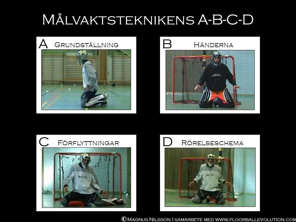 Målvaktsteknikens A-B-C-D B C D © Magnus Nilsson I samarbete med www.floorballevolution.com Händerna Förflyttningar Rörelseschema A Grundställning