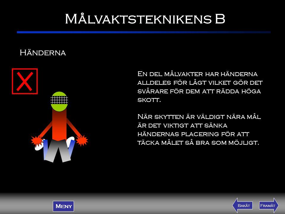 Målvaktsteknikens B Meny FramåtBakåtFramåtBakåt En del målvakter har händerna alldeles för lågt vilket gör det svårare för dem att rädda höga skott. N