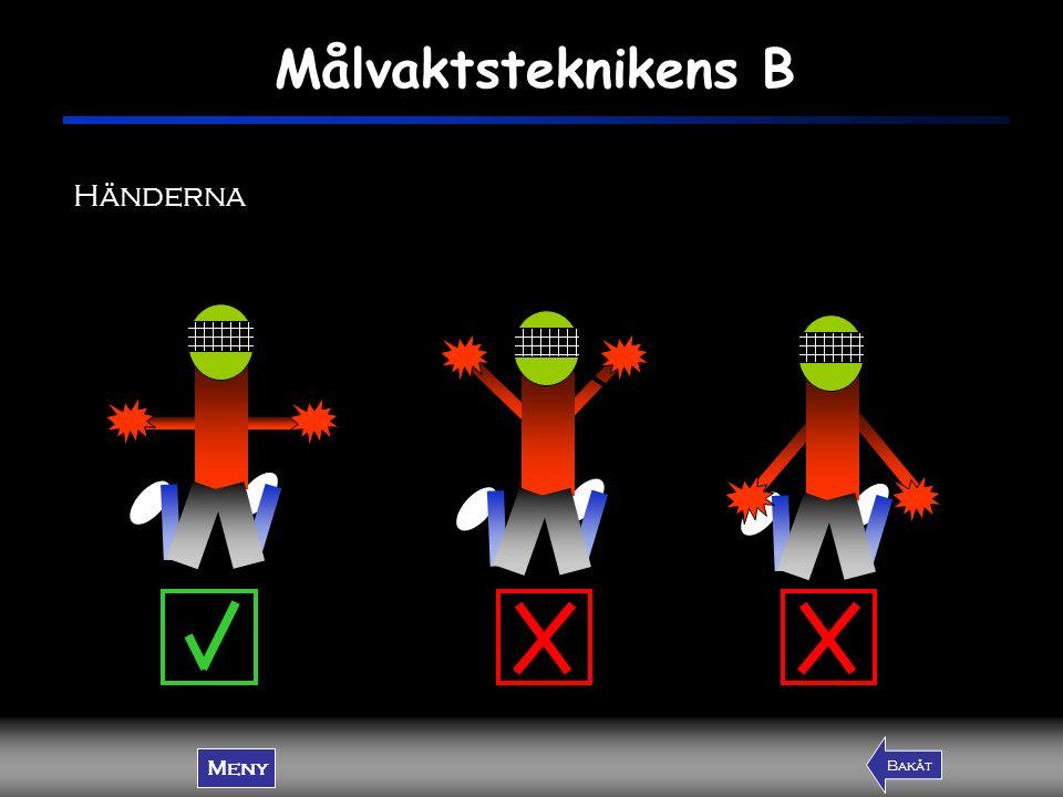 Målvaktsteknikens B Meny FramåtBakåt Händerna Meny