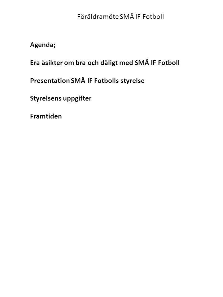 Föräldramöte SMÅ IF Fotboll Agenda; Era åsikter om bra och dåligt med SMÅ IF Fotboll Presentation SMÅ IF Fotbolls styrelse Styrelsens uppgifter Framtiden