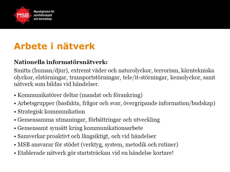 Arbete i nätverk Nationella informatörsnätverk: Smitta (human/djur), extremt väder och naturolyckor, terrorism, kärntekniska olyckor, elstörningar, tr