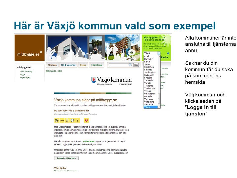 Här är Växjö kommun vald som exempel Alla kommuner är inte anslutna till tjänsterna ännu.