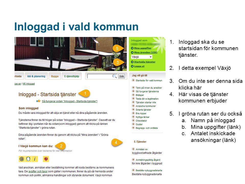 Inloggad i vald kommun 1.Inloggad ska du se startsidan för kommunen tjänster.