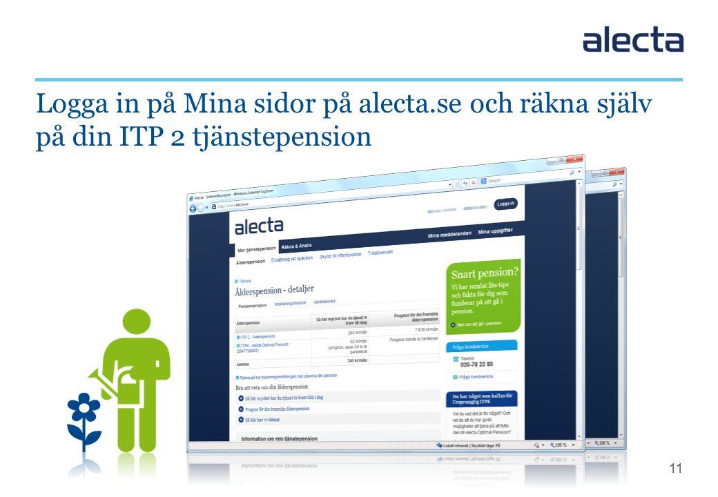 11 Logga in på Mina sidor på alecta.se och räkna själv på din ITP 2 tjänstepension