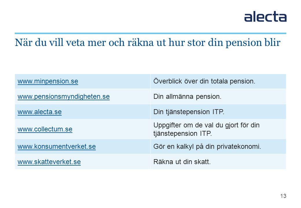 13 När du vill veta mer och räkna ut hur stor din pension blir www.minpension.seÖverblick över din totala pension.