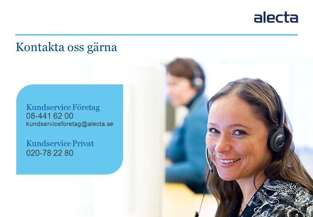 14 Kundservice Företag 08-441 62 00 kundserviceforetag@alecta.se Kundservice Privat 020-78 22 80 Kontakta oss gärna 14