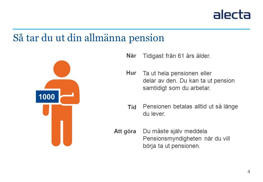5 Tjänstepensionen = ITP 2 + ITPK Du kan tjäna in tjänstepension fram tills du fyller 65 år.