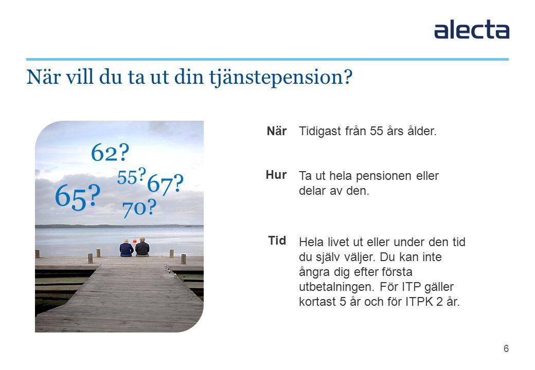 6 När Hur Tid När vill du ta ut din tjänstepension.