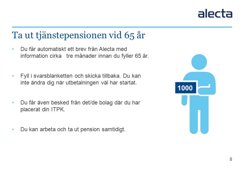 8 Du får automatiskt ett brev från Alecta med information cirka tre månader innan du fyller 65 år.