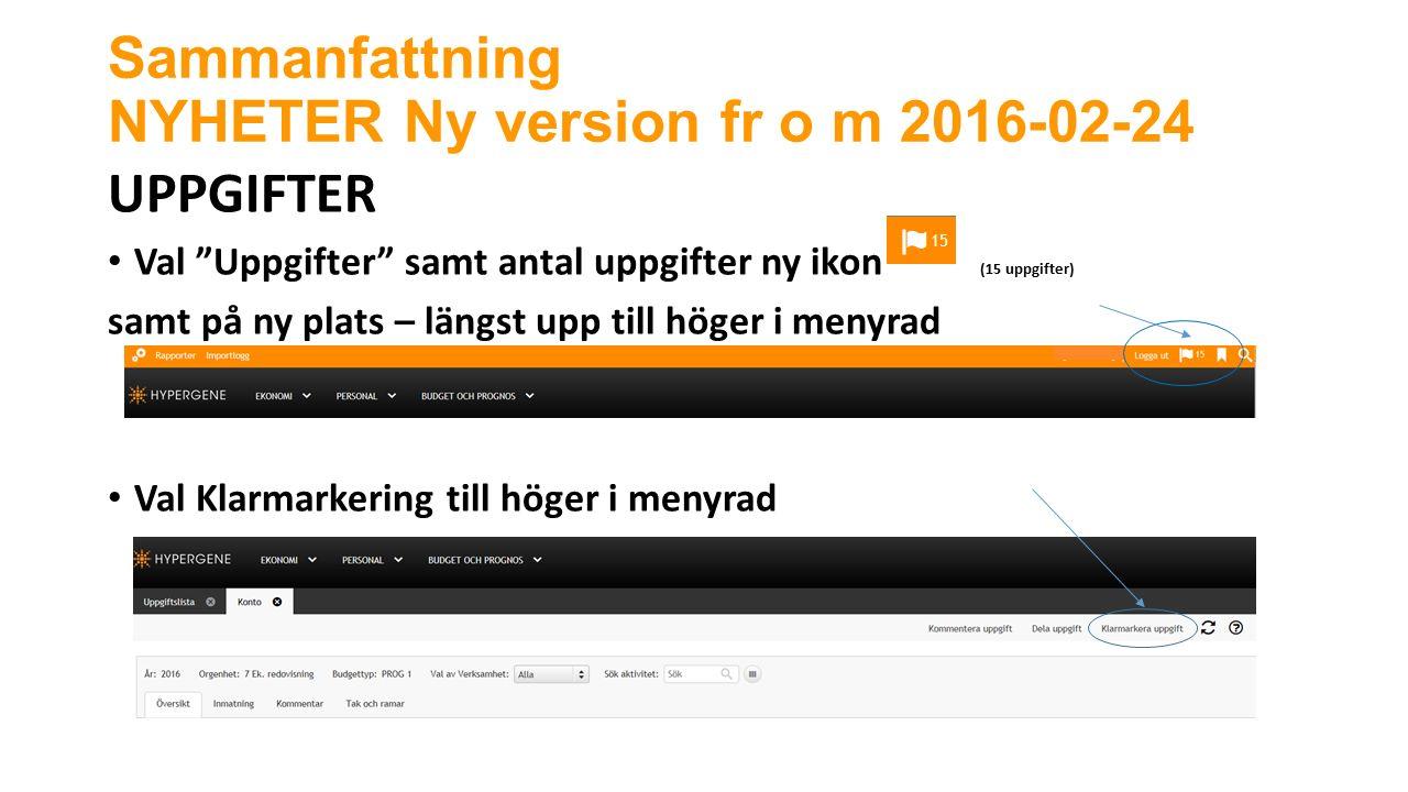 Sammanfattning NYHETER Ny version fr o m 2016-02-24 UPPGIFTER Val Uppgifter samt antal uppgifter ny ikon (15 uppgifter) samt på ny plats – längst upp till höger i menyrad Val Klarmarkering till höger i menyrad