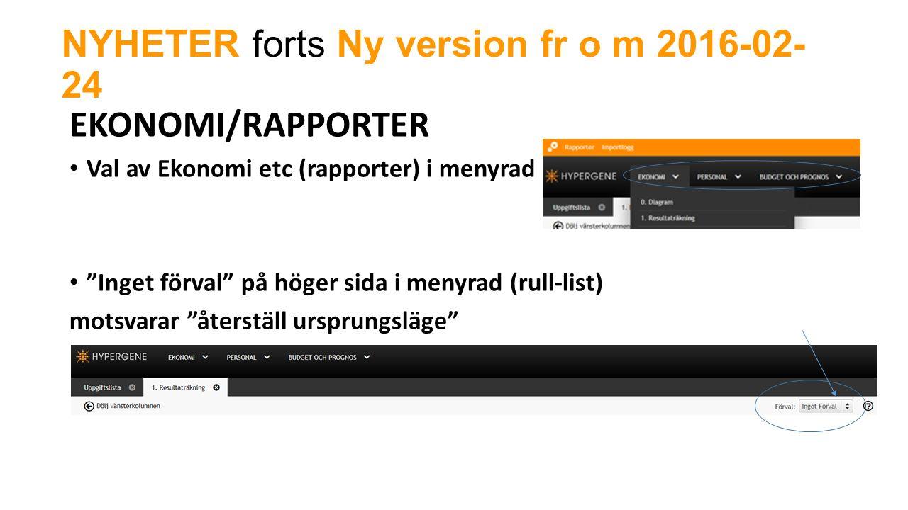 NYHETER forts Ny version fr o m 2016-02- 24 EKONOMI/RAPPORTER Val av Ekonomi etc (rapporter) i menyrad Inget förval på höger sida i menyrad (rull-list) motsvarar återställ ursprungsläge